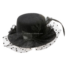 Factory supplyblack min hat for hair decoration feather flower mini hat fascinators