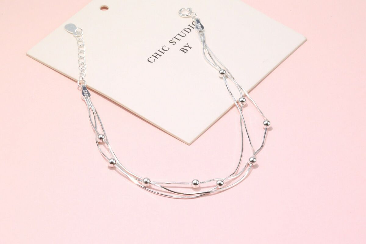 Custom S925 sterling silver bracelet three-layer octagonal snake bone chain smooth bead fashion trend jewelry
