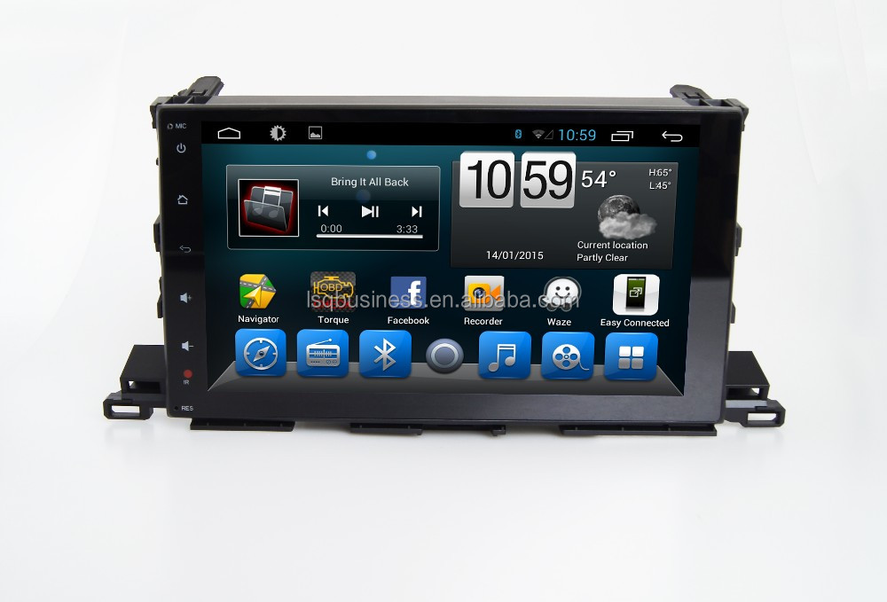 Quad Core 1024*600(optional) Android 4.4.2/ 5.0 car dvd radio GPS navigition stereo for Toyota Highlander 2015 hot selling !!!