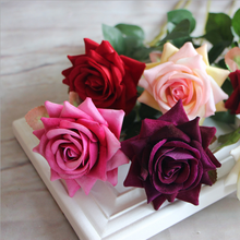 China wholesale cheap artificial red rose flowers artificial velvet rose flower wedding decoration