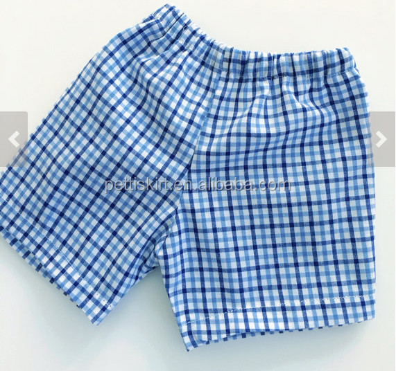 Hot promotion clothing summer kids shorts blue plaid gingham shorts high quality cotton pants shorts