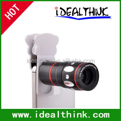 Universal 4 In 1 Mobile Phone Lens 10x Telephoto Clip+ Camera Kit Fish Eye+Wide Angle+Macro