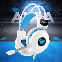 Popular AULA Electronic Music Succubus 3.5mm Jack Professional Wired Gaming Headphone with Light Microphone