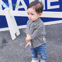 Q2-baby Wholesale Baby Clothing Custom Sweat Toddler Boy Plaid Shirts