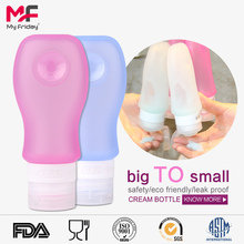 Wholesale reusable soft leak-proof silicone travel metal toiletry bottle