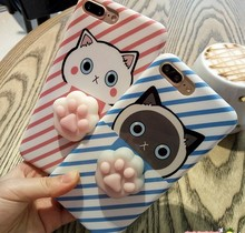 Squishy Toys Custom 3D Silicone Kneading carton Slow Rising Lovely cat claw Cat paw Squishy Phone Case for iPhone 7