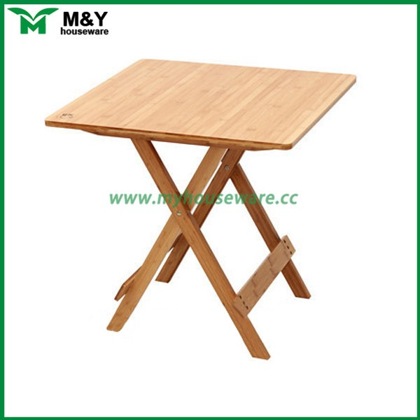 small portable bamboo wood folding table