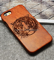 Laser engrave real wood cell phone case cool Tiger head shape custom cell phone wood case for iphone 5 5C 5S 5se