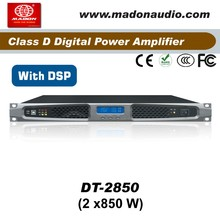 DT-2850 audio digital amplifier with Digital Signal Processing . 2Channel output 2x850W digital audio amplifier with DSP