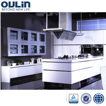 Oulin Hot sale 2 pac high gloss simple design kitchen for project