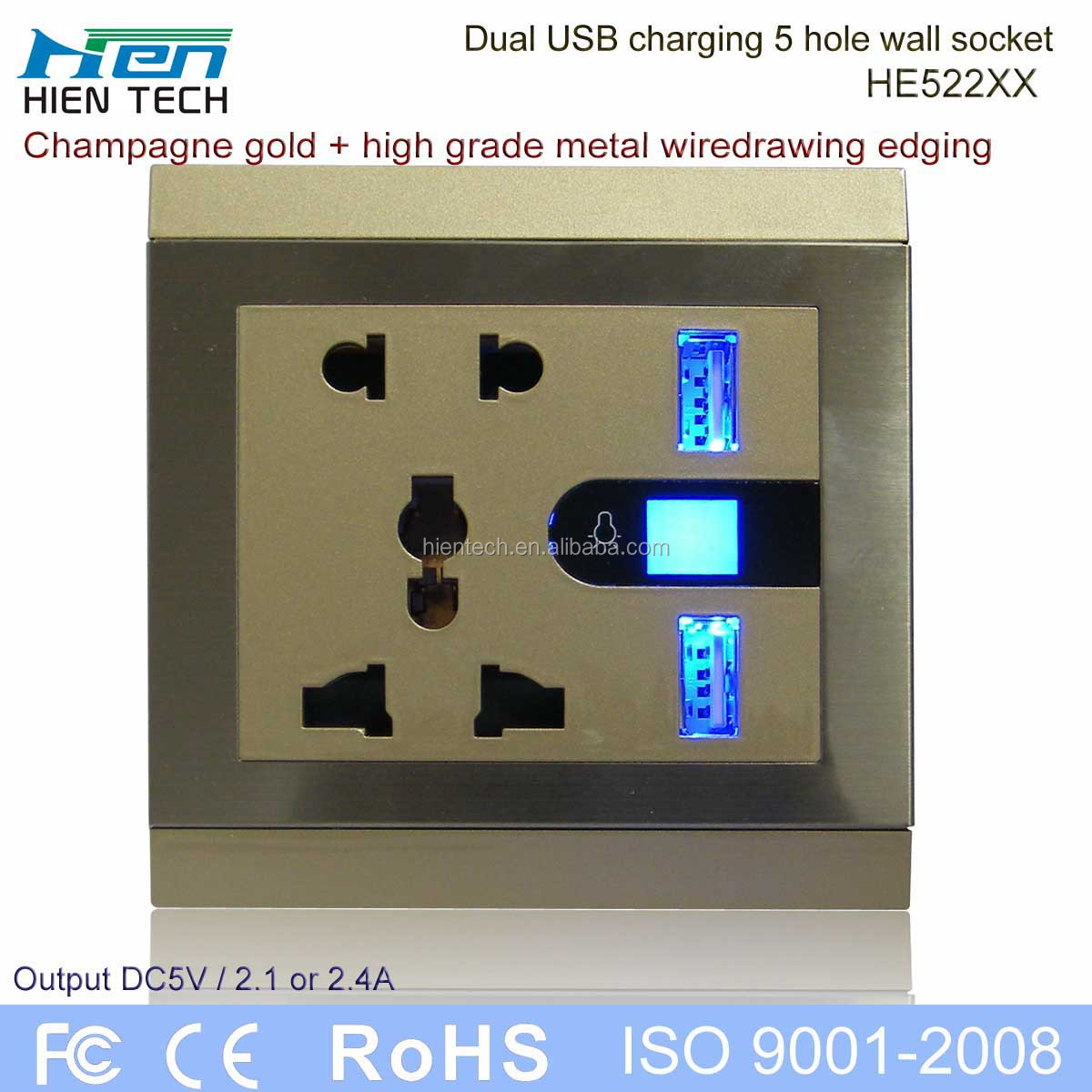 Best for hotel euro usb wall socket 220v international USB socket with 2 USB ports