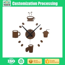 Wood Fashion Creative Tableware Coffee Cup Casual Bar Restaurant DIY Wall Clock