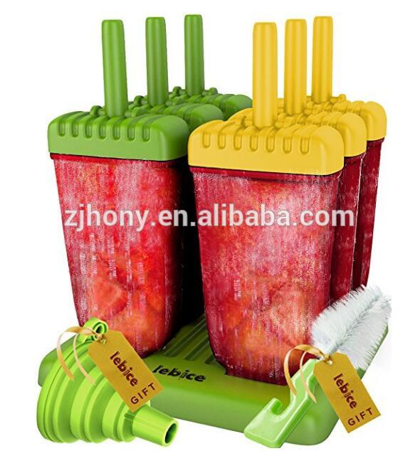 Popsicle Molds Set - BPA Free - 6 Ice Pop Makers + Silicone Funnel + Cleaning Brush + Ice Cream Recipes E-book