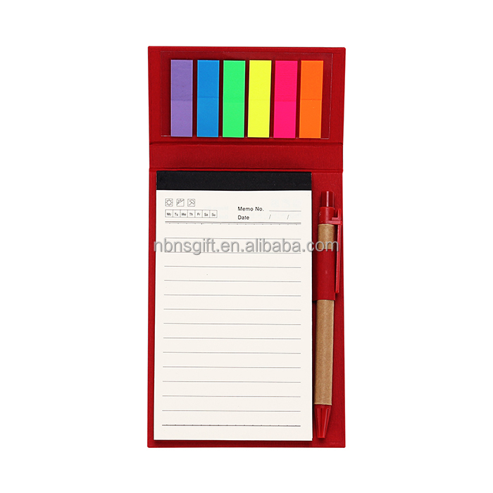 sticky notepad & notebook pure color hard cover,promotional note pads with logo