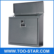 Black Post Letter Box Mail box Lockable Stainless Steel Wall Mount Mail Boxes with key Material