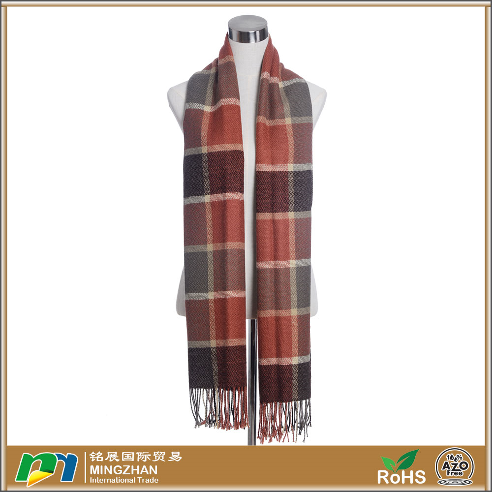 New Model Fashion Multicolor Plaid Knitting Winter Scarf For Women