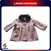 pink woolen fabric faux fur collar baby girl clothes