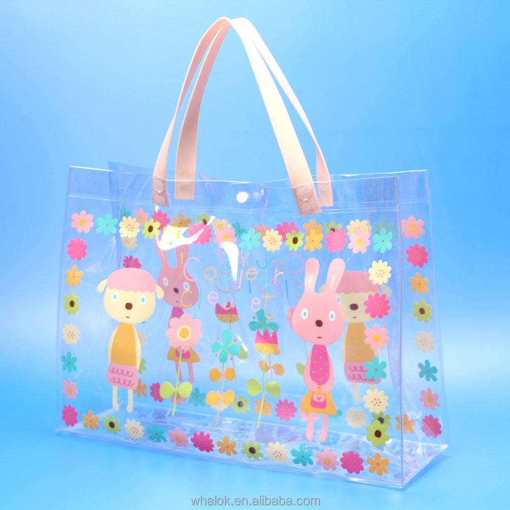 fashion handbag 2016 clear transparent plastic tote bag shopping clothing bag