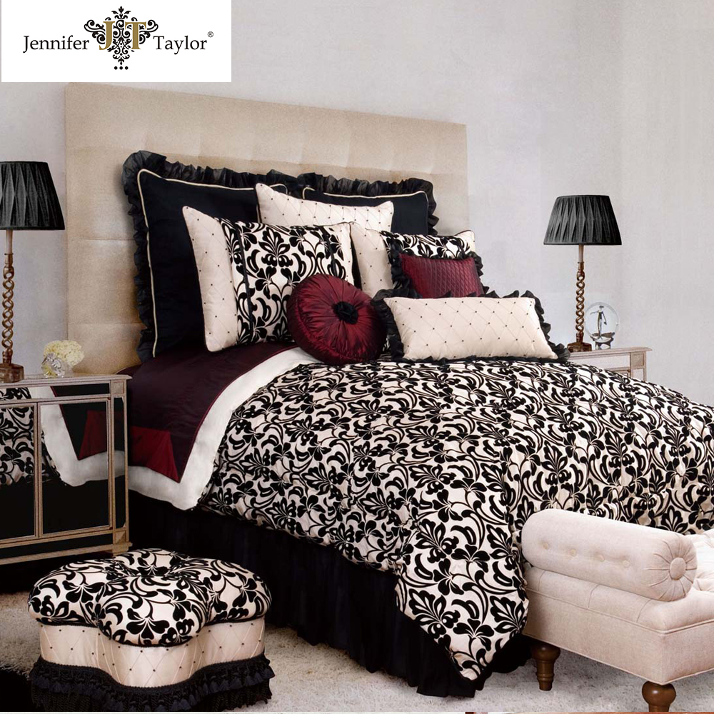 bedroom comforter set/9 pcs floral bed in a bag bedding set