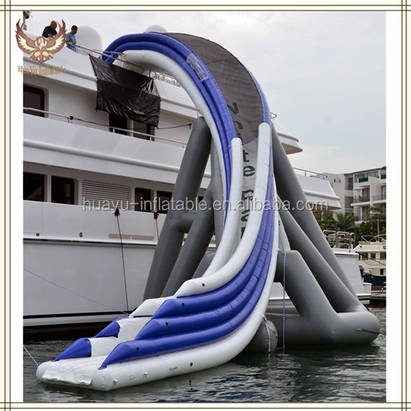 Giant Curved Inflatable Water Slides For Yarcht In Sea,Curved Sliding Window