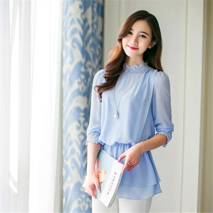 New Model Design Ladies Office Uniform Wear Women Tunic Blouse