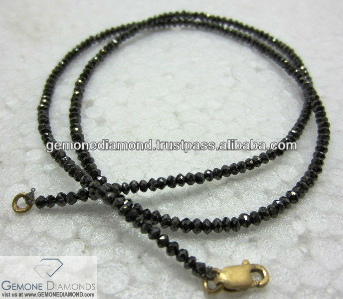 SUPER JET BLACK COLOR REAL FACETED BEADS DIAMONDS NECKLACE