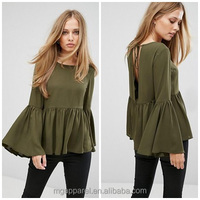 New design chiffon flared sleeves woman blouse tie V-back girl top