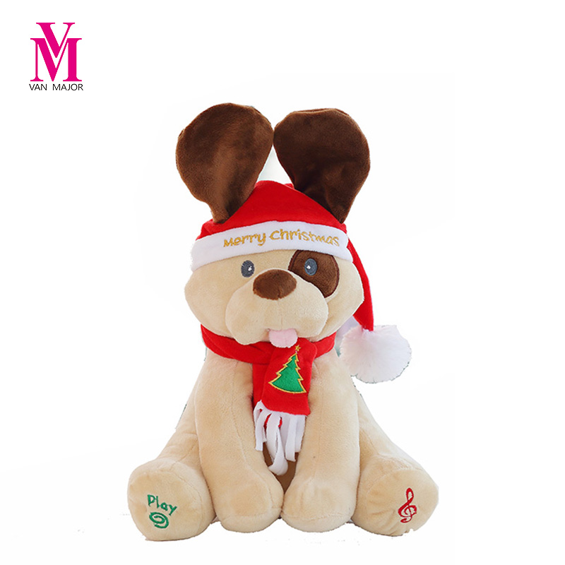 Christmas Peek A Boo Dog Stuffed Animals & Plush Dog Doll, Play Music Dog Educational Anti-stress Electric Toy For Baby
