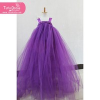 Age 1-13 Years/Kids Girls Princess Party Suspender Solid Lace Dresses PURPLE