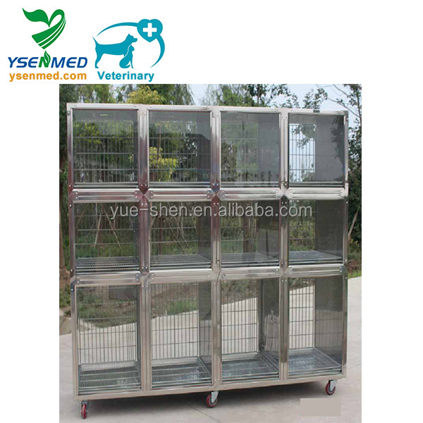 YSVET2440 guangzhou customizable good quality veterinary cages 304 stainless steel pets display cages