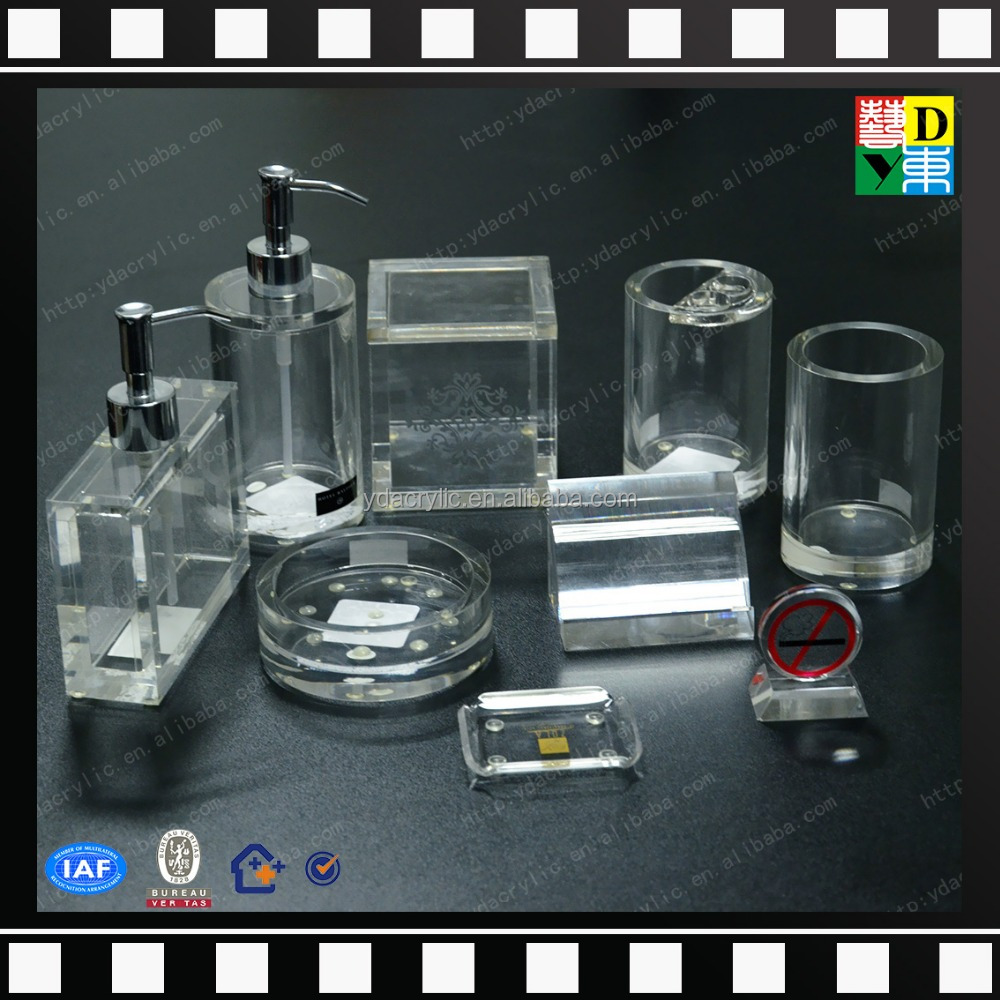 Wholesale clear acrylic bathroom set plexiglass bathroom for Clear bathroom accessories
