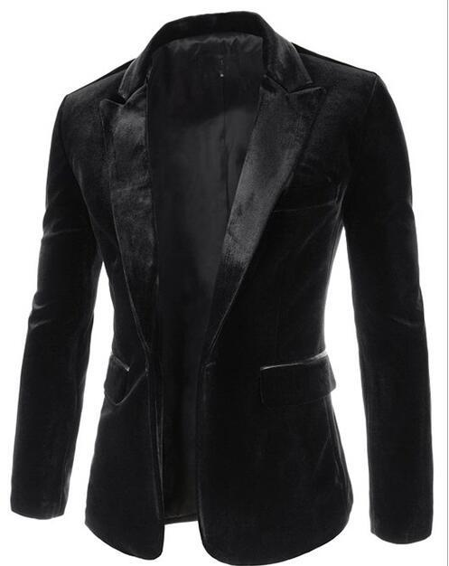 Aliexpress Men's Round Neck Velvet Blazer Jacket With One Metal Button