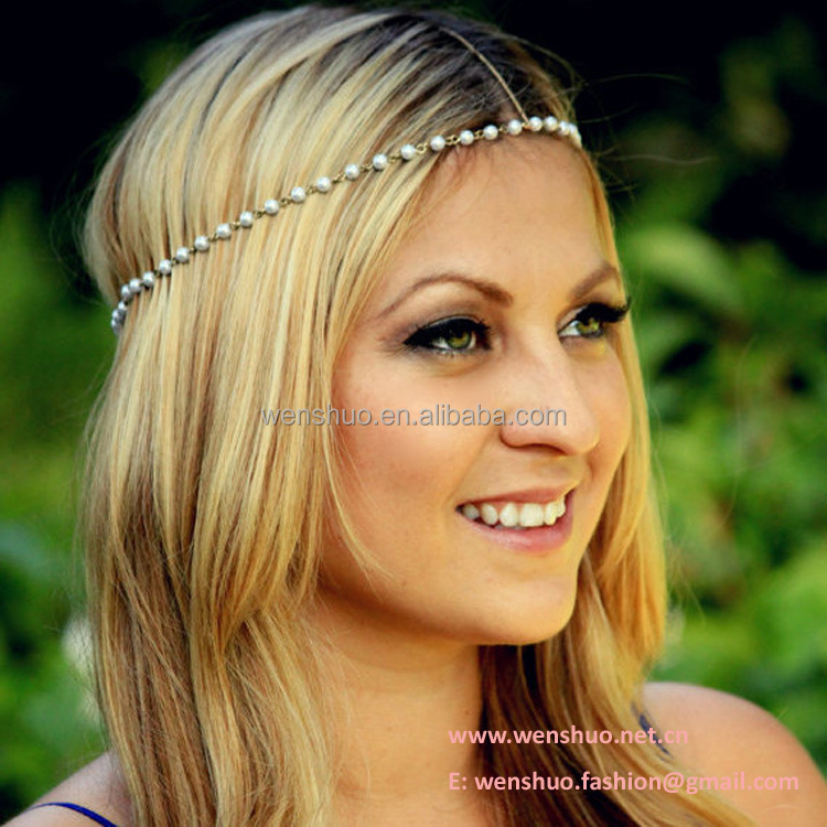 Wholesale Pearl String Ladies Hair Accessory By Hand