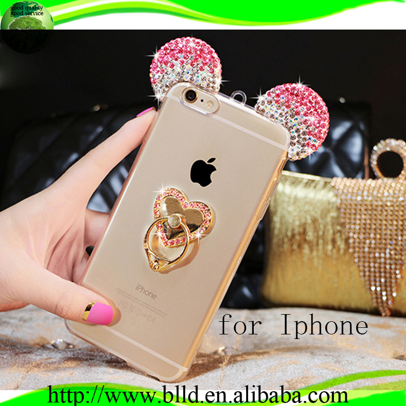 Heart shaped stand with diamond ear TPU case cover asesoriospara celulares for IPhone