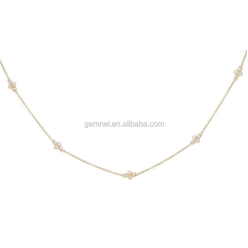 Elegant design women gold necklace diamond blossom choker