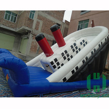 ship shaped inflatable house giant commercial inflatable bouncer slide for playground