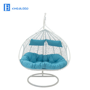 hot sale white color rattan swing chair double hanging chair
