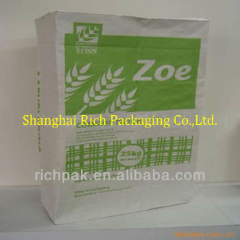 2017 25kg flour valve paper bag with white outer