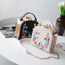 2017 European Luxury colorful clinch reaationary box bag ladies chain beautiful handbag with low moq