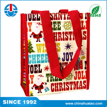 Fugang Custom Reusable PP Woven Christmas Supermarket Shopping Tote Bag