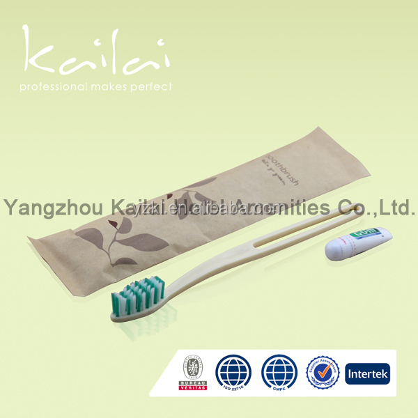 Bag with Customized Logo for Hotel Dental Kit/hotel dental kit colorful leaf /Kit Disposable Toothbrush and Toothpaste inside