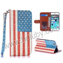 Lichee Pattern Retro US Flag Pattern Wallet Style Stand PC+PU Leather Phone Case with Strap for iPhone6 iPhone 6 4.7 inch