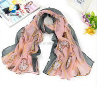 women's silk scarf voile material for beach