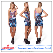 newest european and american fashion casual Dye Sub printed tank dress