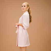 pink single layer waffle robe design as japanses pajamas kimono robe causal style for women