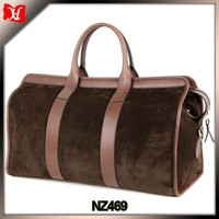 Brown leather suded motorcycle duffel bag best custom designer carry on luggage travel garment bag
