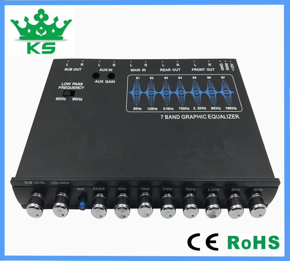 7 band with subwoofer output professional car audio equalizer car stereo equalizer