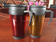 Promotional double wall clear plastic mugs with handles in 450ml volume