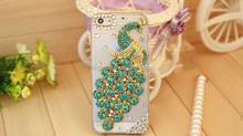 Handmade Bling Peacock Crystal Rhinestone Diamond hard Back Cover case For iphone5 5s 6s