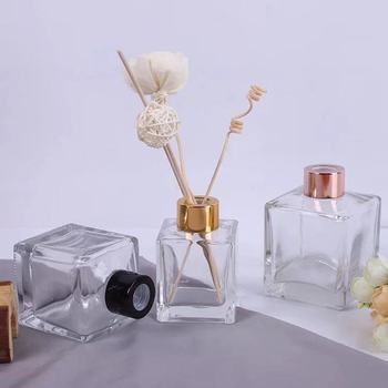 empty clear 50ml 100ml 150ml 200ml luxury square decorative reed diffuser glass bottle